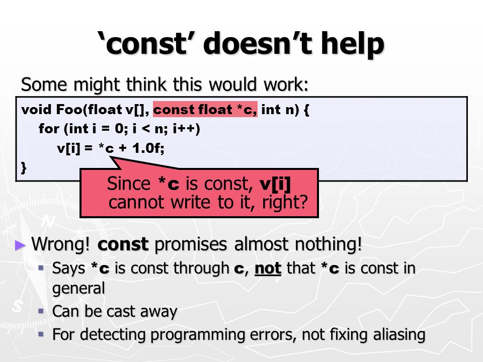 Since *c is const, v[i] cannot write to it, right